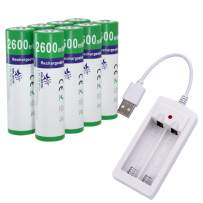 melasta 8 Count NiZn AA Rechargeable Batteries 2600mWh, 1.6V AA Battery with USB Charger for Outdoor Solar Light Flash Mouse Camera Toys MP3