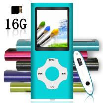 Tomameri - Portable MP3 / MP4 Player with Rhombic Button, Including a 16 GB Micro SD Card and Support Up to 64GB, Compact Music, Video Player, Photo Viewer Supported - White+Blue