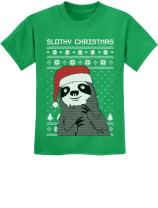 Slothy Christmas Ugly Christmas Sweater Sloth Youth Kids T-Shirt