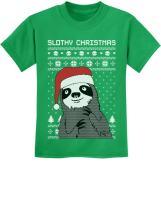 Slothy Christmas Ugly Christmas Sweater Sloth Youth Kids T-Shirt