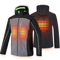 CONQUECO Men's Heated Jacket Soft Shell Hoodie Jacket for Outdoors