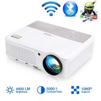 2020 Wireless Wifi Projector Bluetooth HDMI LED 4400 Lumens Smart LCD Android Video Projector HD Wxga Support 1080P HDMI USB VGA AV Audio for Phones Laptops TV DVD PS4 Games Home Theater Outdoor Movie