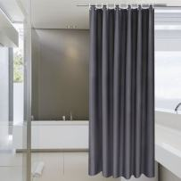 Aoohome Fabric Shower Curtain Liner, Solid Hotel Shower Curtain, Water Repellent, Dark Grey, 72 x 78 Inch
