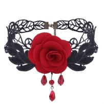 ManxiVoo Women Flower Choker Girl Gothic Lolita Black Lace Collar Choker Necklace Retro Rose Collarbone Chain Clavicle Necklace
