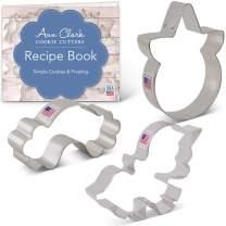 Ann Clark Cookie Cutters 3-Piece Cute Unicorn Cookie Cutter Set with Recipe Booklet, Unicorn Face, Cute Unicorn, Rainbow
