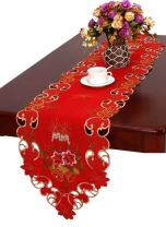 "Grelucgo Embroidered Christmas Holiday Large Table Runner 15"" X 120"""