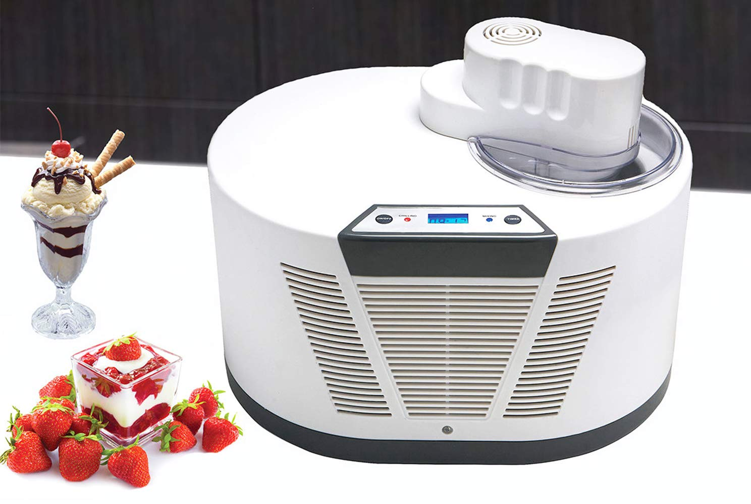Hanchen Electric Ice Cream Maker Automatic Ice Cream Machine with Digital Display for Home and Commercial Use, Advanced Compressor,Computer Controlled Continuous Work for Kids Cuisinart Self-cooling Function,1100ml Capacity 30Min/Pot 12Balls/Pot with 3C Certificate 110V