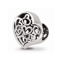 925 Sterling Silver Charm For Bracelet Cutout Hearts Bead Love Fine Mothers Day Jewelry For Women Gifts For Her