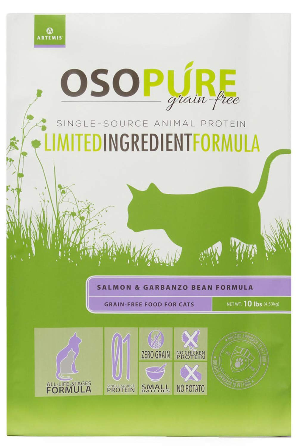 Artemis OSOPURE Dry Cat Food - Grain Free Limited Ingredient Salmon Garbanzo Bean Formula Protein Nutrition All Life Stages