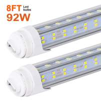 10 PCS-T8 T10 T12 LED Tube Light, 8 Foot, 92W Rotate V Shaped, R17D/HO 8FT LED Bulb,6000K Cold White, 13500LM, Clear Cover, (Replacement for F96T12/CW/HO 150W), Ballast Bypass,Dual-End Powered,