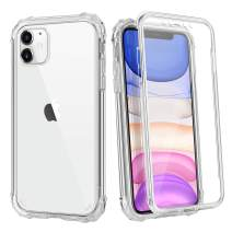 Coolden Case for iPhone 11 with Built-in Screen Protector Cute Bling Glitter Case Rugged Dual Layer Full Body Shockproof Cover Anti-Scratch Case for 2019 6.1 Inch iPhone 11 iPhone XI, Clear