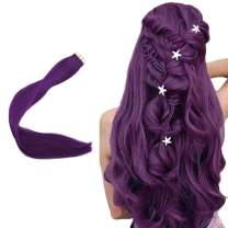 Easyouth 20inch Fashion Tape in Hair Extensions Purple Color 10 Pcs 25g per Set Pu Tape Hair Extensions Remy Human Hair Skin Weft Extensions Glue in Hair