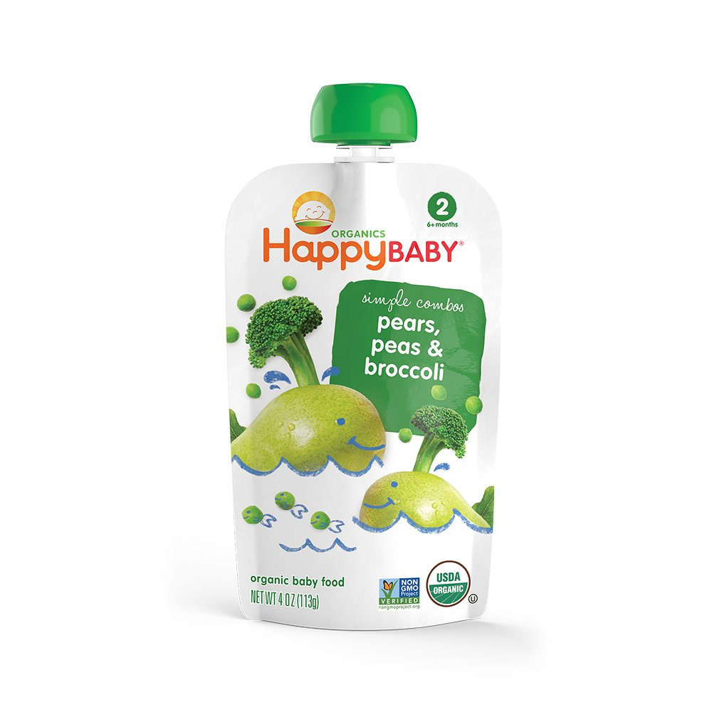 Happy Baby, Baby Food Stage 2 Special Combo Broccoli Pear Pea Organic, 4 Ounce