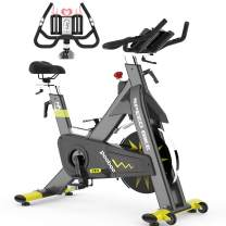 pooboo Indoor Exercise Bike Commercial Stationary Bike Belt Drive Indoor Cycling Bike with 42 LB Flywheel,LCD Monitor
