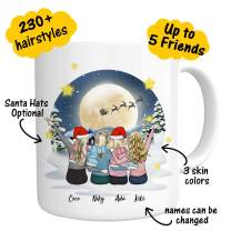 Custom Best Friend Coffee Mug for Women - Personalized Christmas Gifts for Friend Women - Customizable Name Cup For Besties Friendship Graduation Birthday Moving Away # Christmas Santa Claus