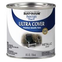 Rust-Oleum 240288 Paint'er's Touch Satin HP Interior Paint, 1/2 Pint, Metallic Silver
