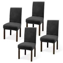 Argstar 2,4,6 Pack Velvet Kitchen Chair Covers, Velvet Dining Chair Slipcover, Parson Chair Cover Velvet, Armless Chair Cover for Dining Room, Kitchen Chair Cover Set of 4, Dark Grey