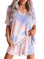 Adreamly Women Tie Dye Printed Button Down Long Sleeve Short Ruffle 2 Piece Pajamas Set Nightwear Sleepwear Loungewear