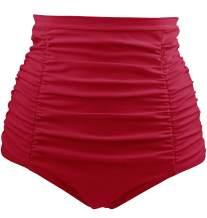 Tempt Me Women's High Waisted Swimsuit Bottom Tummy Control Ruched Bikini Bottom Vintage Swim Shorts Tankini Briefs