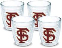 Tervis 1022307 Florida State Seminoles Tumbler with Emblem 4 Pack 12oz, Clear