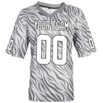 Pullonsy Gray Zebra Pattern Custom Football Jerseys for Men Women Youth Embroidered Your Name and Numbers S-8XL