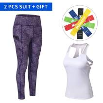 Women Yoga Clothes Set, Comfy Gym Leggings + Sports Vests, with Exercise Bands