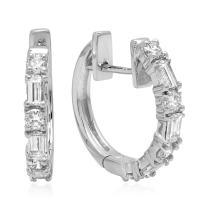 Dazzlingrock Collection 0.45 Carat (ctw) 14K Gold Round & Baguette White Diamond Ladies Huggies Hoop Earrings 1/2 CT