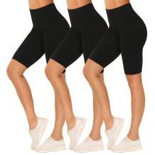 """YADIFEN 3 Pack Biker Shorts for Women – 8"""" Soft Stretchy Athletic Short Pants High Waisted Yoga Cycling Workout Shorts"""