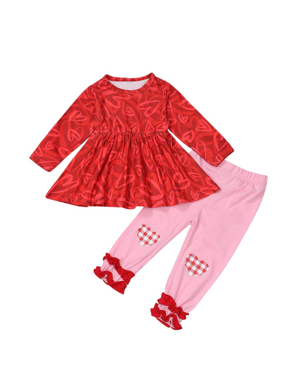 Valentine's Day Toddler Baby Girl Outfit LovingHeart Long Sleeve Dress Top + Ruffle Pants 2Pcs Fall Winter Clothes Set
