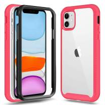 Jiunai iPhone 11 Case, iPhone 11 Cases Slim Anti Scratch Clear Bumper Drop Protection Dual Layer Durable Impact Resist Soft Rubber Shell Frame Rugged Cover Cases for iPhone 11 6.1 inches 2019 Pink