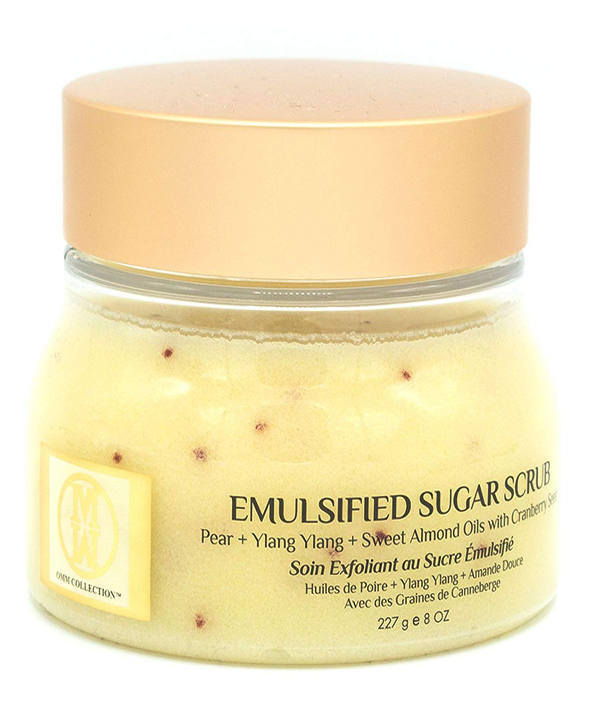 New OMM Collection Emulsified Sugar Scrub (8oz/227g) - French Pear - Natural Hand & Body Scrub with Camellia Sinensis Oil, Sweet Almond Oil & Coconut Oil - Nourishing, Moisturizing & Exfoliating Skin