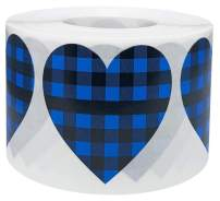 Blue Buffalo Plaid Heart Stickers Valentine's Day Crafting Scrapbooking 1.5 Inch 500 Adhesive Stickers