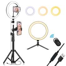 "10.2"" Selfie Ring Light with Tripod Stand & Cell Phone Holder for Live Stream/Makeup, QI-EU Mini Led Camera Ringlight for YouTube Video/Photography Compatible with iPhone Xs Max XR Android"