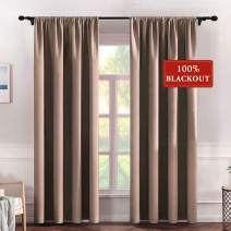 MIULEE 100% Blackout Curtains for Bedroom Darken Large Window Curtains for Light Block Out and Thermal Insulated, 2 Panels, W 52 x L 96 inches, Khaki