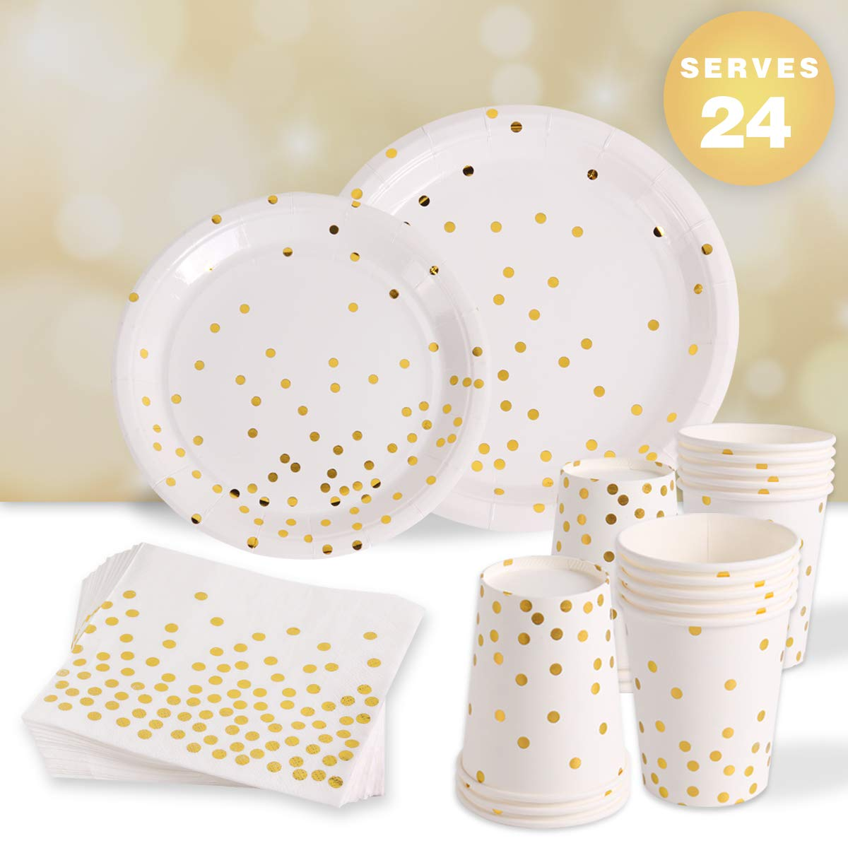 96 Piece White and Gold Party Supplies for 24 Guests | Paper Disposable Dinnerware Set | Tableware Set - Gold Dots Dinner Plates,Dessert Plates,9oz Cups,Napkins | Wedding Bridal Baby Shower Birthday