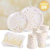96 Piece White and Gold Party Supplies for 24 Guests   Paper Disposable Dinnerware Set   Tableware Set - Gold Dots Dinner Plates,Dessert Plates,9oz Cups,Napkins   Wedding Bridal Baby Shower Birthday