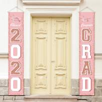 ORIENTAL CHERRY 2020 GraduationDecorations- Class of 2020 Graduation Party Supplies - Hanging Flags Banners Signs Outdoor Home Door Porch Décor - Pink Rose Gold White