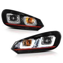 [For 2010-2014 Volkwagen MK6 Golf GTI VW Jetta Sportwagon Halogen Model] OLED Neon Tube Black Projector Headlight Headlamp Assembly, Driver & Passenger Side