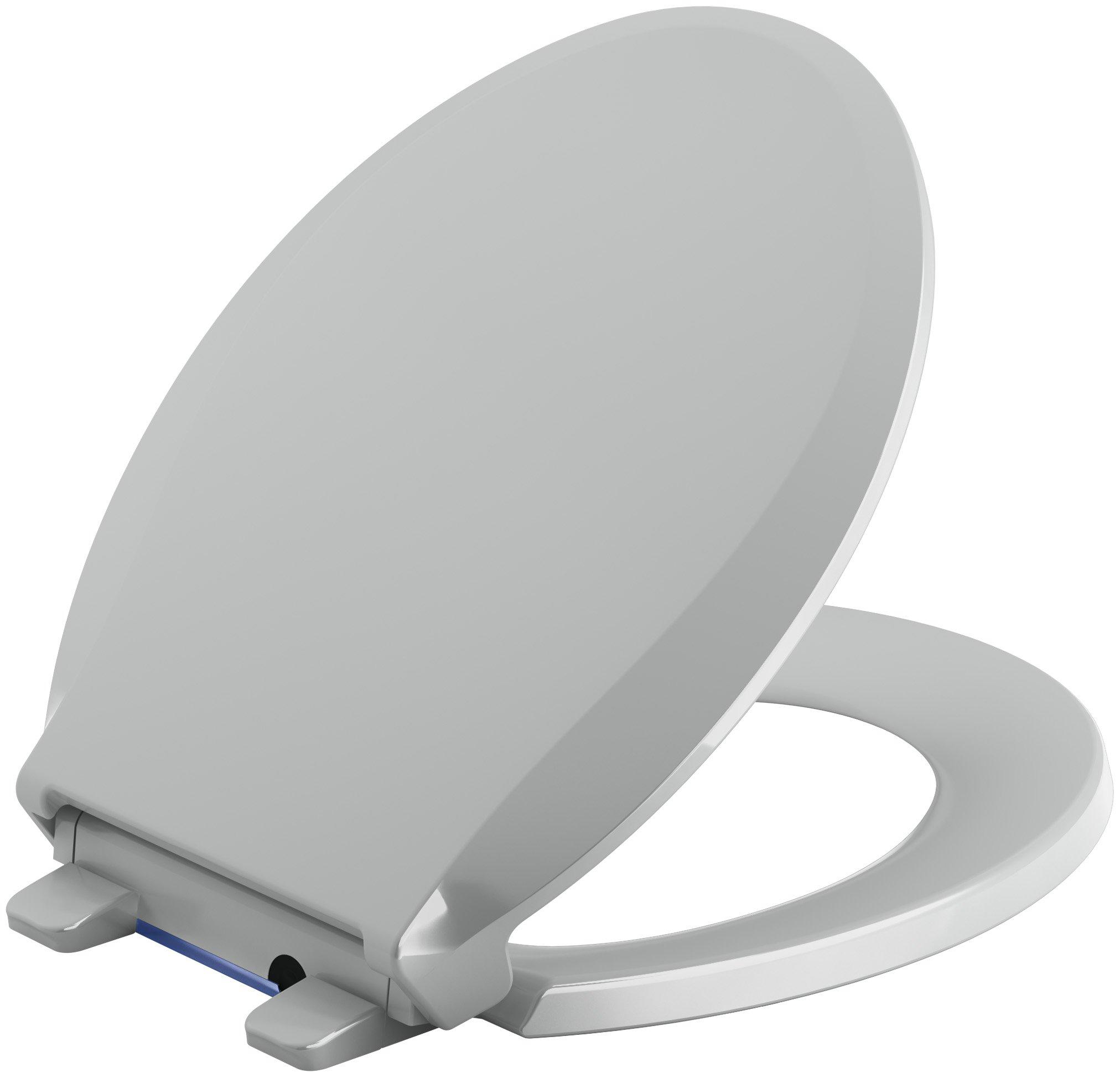 KOHLER K-75758-95 Cachet Toilet Seat, Round, Ice Grey
