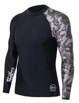 HUGE SPORTS Men's Splice UV Sun Protection UPF 50+ Skins Rash Guard Long Sleeves(Sea Forest, 2XL)