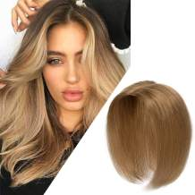"""Hair Toppers For Women Crown Toupee 100% Human Hair Clip On Hair topper Mono Top Hairpieces Middle Part with Hair Loss Cover White Hair Gray Hair Replacement Extensions 12"""" 20g #27 Dark Blonde"""