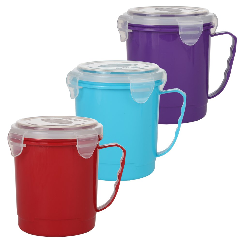 Home-X - Microwave Soup Mug Set with Secure Snap Close Vented Lids, 22 oz Mugs Allow You to Heat and Eat Soups, Noodles, Hot Cereal and More in a Single Container, Set of 3, Red, Blue and Purple