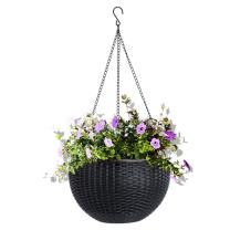 Vencer 11 Inch Round Resin Self Watering Hanging Basket,Water Indicator,Modern Decorative Planter Pot for All House Plants,Black,VF-050B