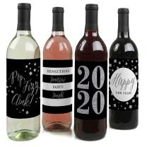 New Year's Eve - Silver - 2020 New Years Eve Party Decorations for Women and Men - Wine Bottle Label Stickers - Set of 4