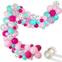 """Surprise Party Decorations Balloons Garland Kit- 88 Pack 12"""" 5"""" Rose Red Pink Sea Foam Blue White Polka Dots Latex Balloons Confetti Balloon for Baby Shower Kids Girls Boys Surprise Birthday Surprise Party Supplies"""