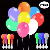 TECHSHARE 32 Pack LED Light Up Balloons, 8 Colors Flashing Lights Glow in The Dark Balloons for Party Supplies Birthday Party Wedding Decorations - Can be Filled with Helium, Air