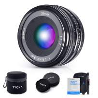 TYCKA 35mm F1.7 Manual Focus Prime Fixed Lens Camera Large Aperture Wide Angle Lens for Sony E-Mount APS-C Mirrorless Cameras with Lens Pen Air Blower Cleaning Cloth