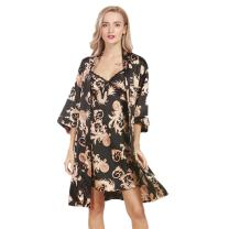 Borje Womens Satin Sleepwear,Two Piece Set Half Sleeve Silk Nightgown and Robe