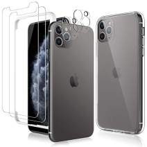 TAURI 2 Pack Screen Protector + 2 Pack Camera Lens Protector + Acrylic Case for iPhone 11 Pro 5.8-inch, [Tempered Glass] [Shock Absorption] [Triple Protection], HD Clarity, Anti Scratch - Clear