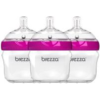 Baby Brezza Two Piece Natural Baby Bottle with Lid - Ergonomic, Wide Neck Design Makes it The Easiest to Clean - Modern Look - Anti-Colic - BPA Free Plastic - Pink – 5 Ounce Size – 3 Pack of Bottles